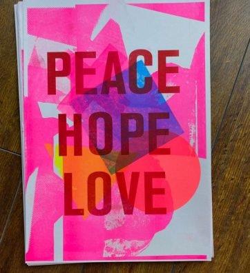 PEACE HOPE LOVE RISOGRAPH PRINT